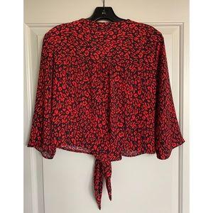 Bershka Tops - Bershka red leopard print blouse w tie front S